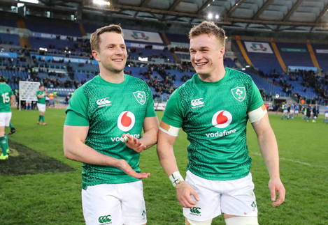 Jack Carty and Josh van der Flier celebrate winning