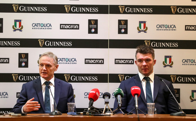 Joe Schmidt and Peter O'Mahony during the post match press conference
