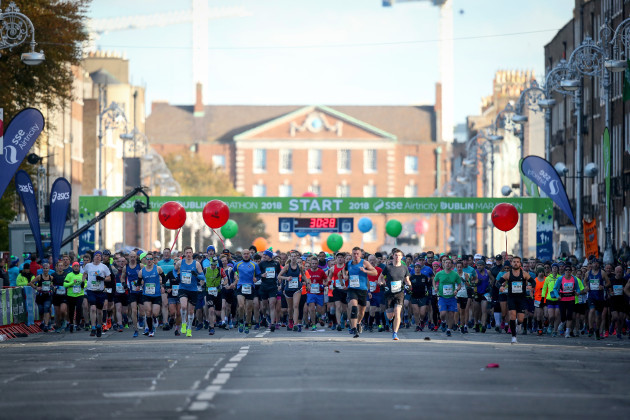 A view of the runners at the start line