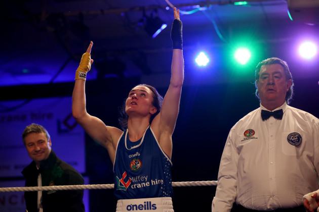 Kelly Harrington celebrates her win