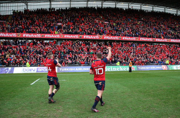 Andrew Conway and Ian Keatley celebrate after the game
