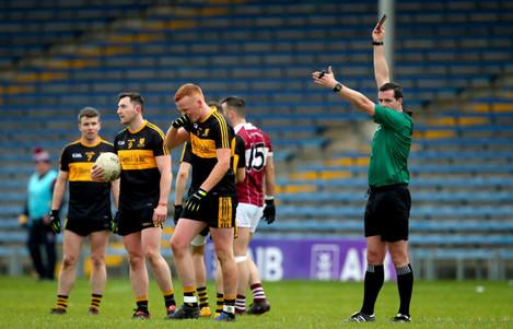 Johnny Buckley is sent off by Referee Sean Hurson