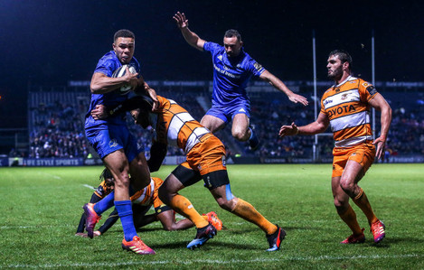 Adam Byrne on his way to scoring a try
