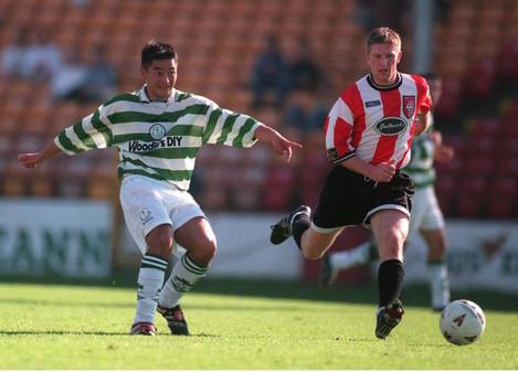 Jason Sherlock (Rovers) shoots ahead of Paul Hegarty (Derry) 20/9/1998