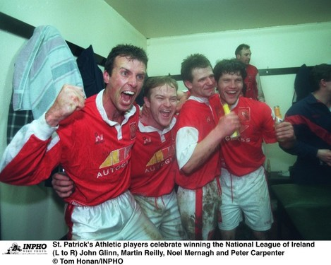 St. Patrick's Athletic players celebrate winning the National League of Ireland