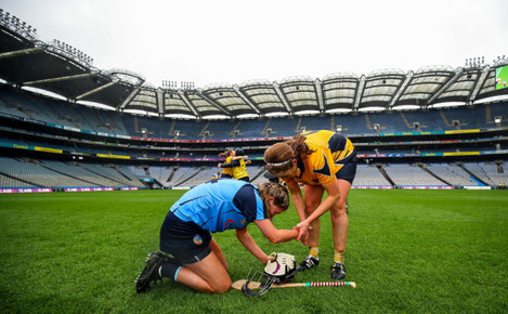 Claire Dunne is consoled by Fionnuala Carr