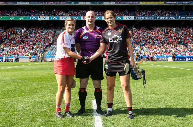 John Dermody with Sarah Harrington and Fionnuala Carr at the coin toss