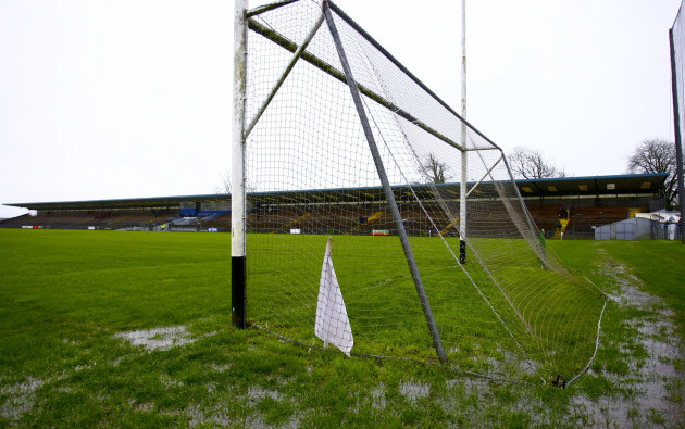 A general view of Walsh Park after the game being abandoned before throw in
