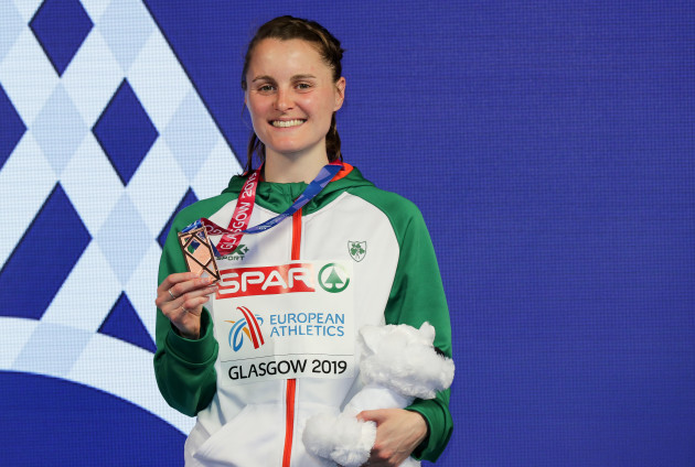 Ciara Mageean celebrates with her bronze medal