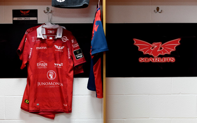 A view of the Scarlets changing room