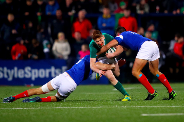 Ben Healy tackled by Arthur Vincent and Paul Boudehent
