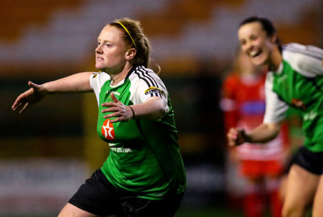 Amber Barrett celebrates scoring a goal