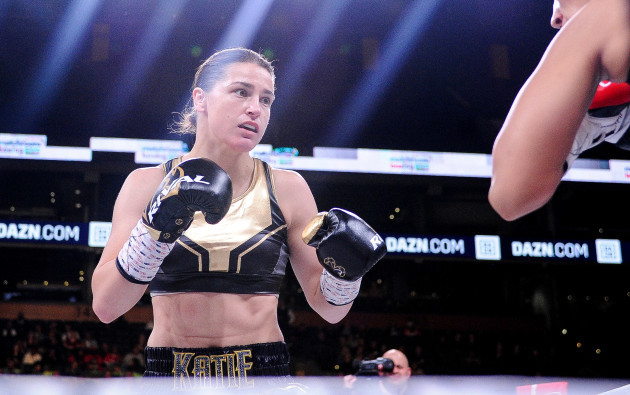 Katie Taylor in acton against Cindy Serrano