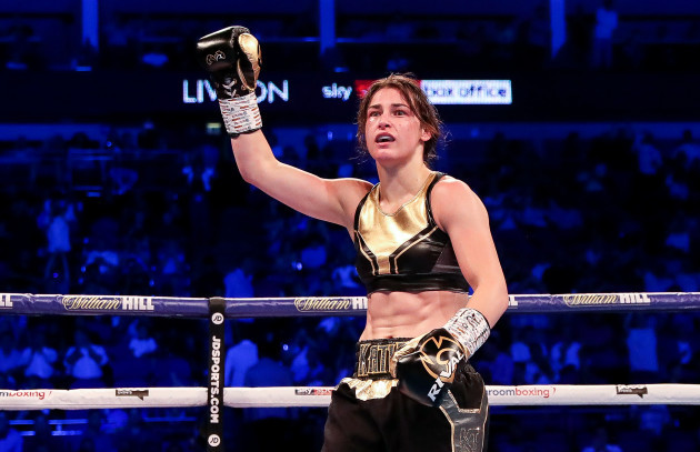 Katie Taylor celebrates after the fight