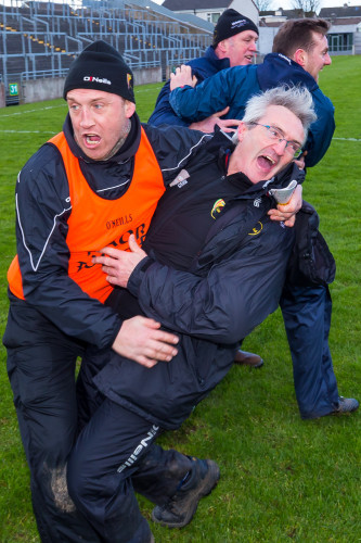 Colm Bonnar and Martin Byrne celebrate winning