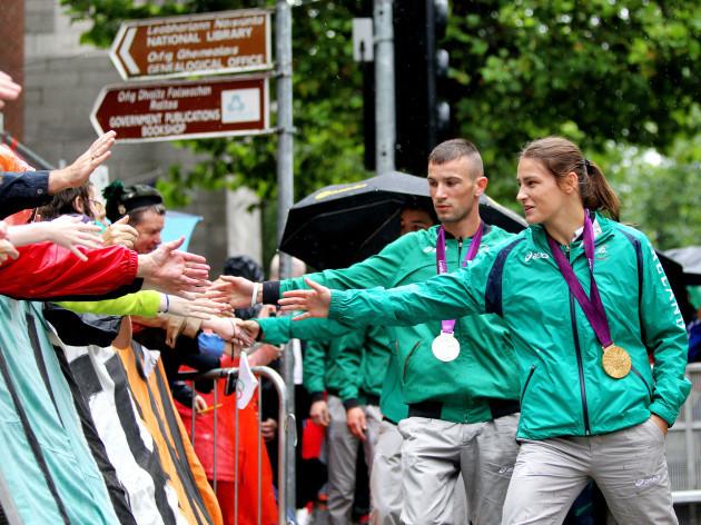 John Joe Nevin and Katie Taylor greet fans