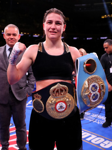 Katie Taylor celebrates her victory after the fight