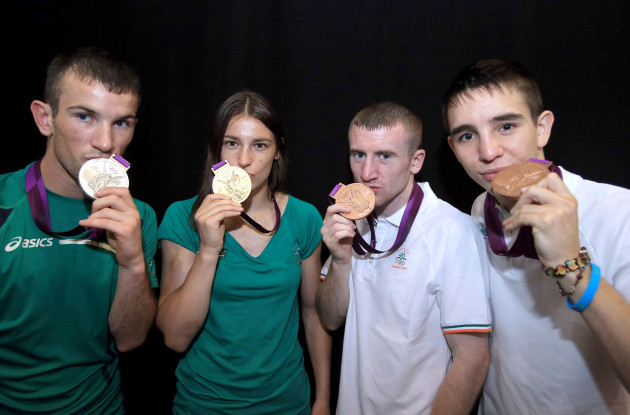 John Joe Nevin, Katie Taylor, Paddy Barnes and Michael Conlan show off their medals