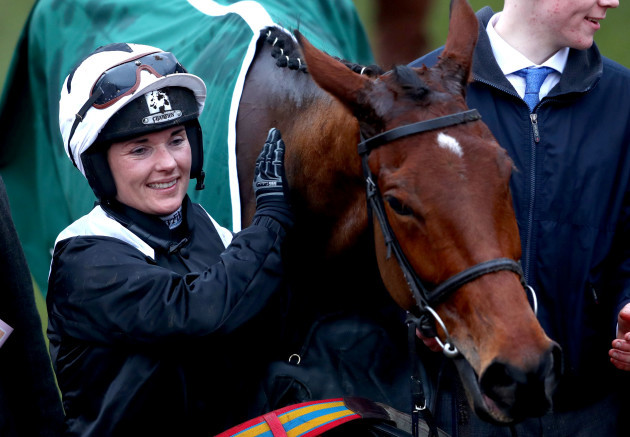 Katie Walsh celebrates with Relegate after winning