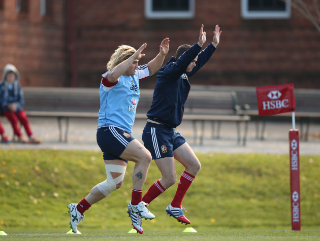 British and Irish Lion's Richard Hibbard and Jonathan Sexton during the training