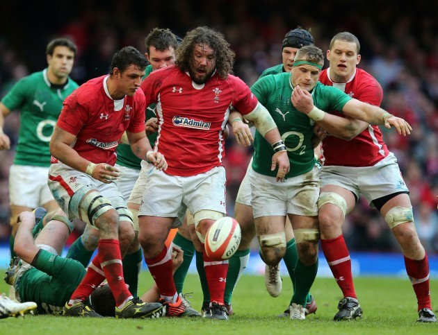 Jamie Heaslip with Aaron Shingler, Adam Jones and Ian Evans