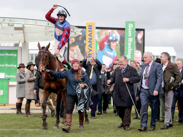 Aidan Coleman onboard Paisley Park celebrates winning