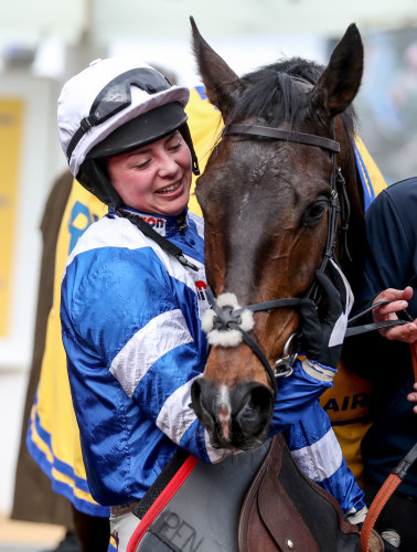 Bryony Frost celebrates winning with Frodon