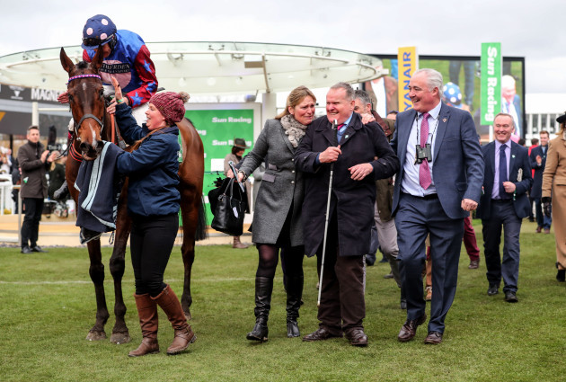 Aidan Coleman, Emma Lavelle and Andrew Gemmell celebrate winning with Paisley Park