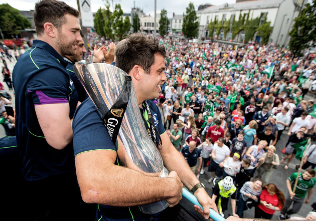 Ronan Loughney with the trophy in Eyre Square
