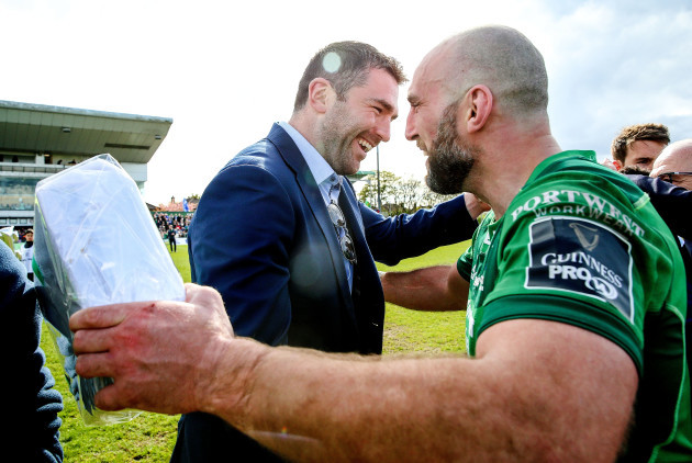 John Muldoon and Andrew Browne celebrate after the game