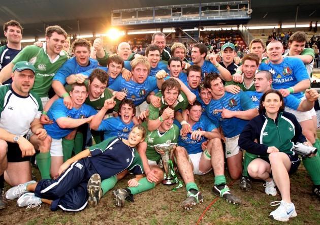 The Irish team celebrate winning