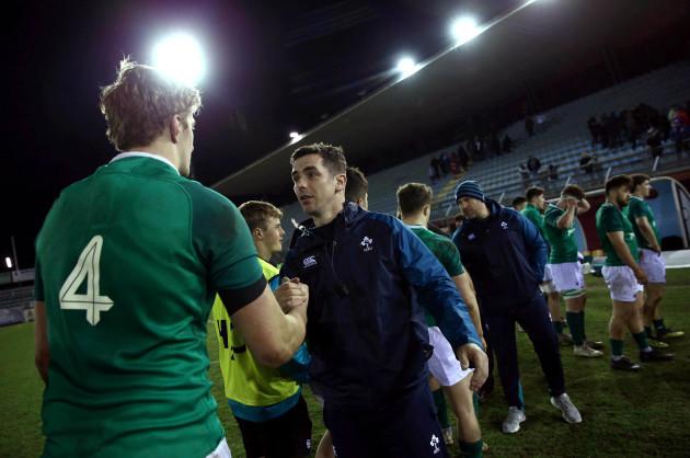 Noel McNamara congratulates his players after the game