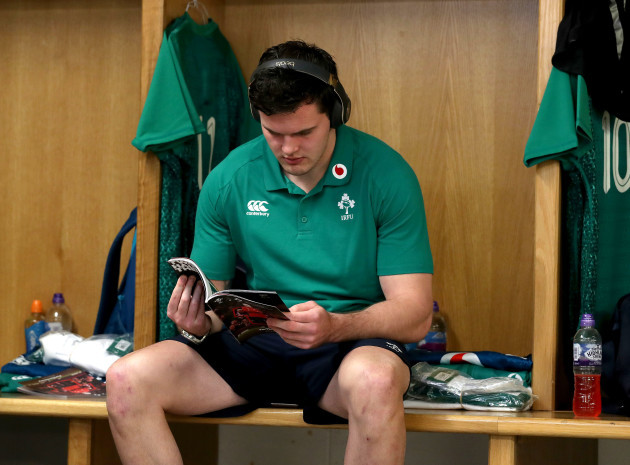 Jacob Stockdale in the dressing room ahead of the game