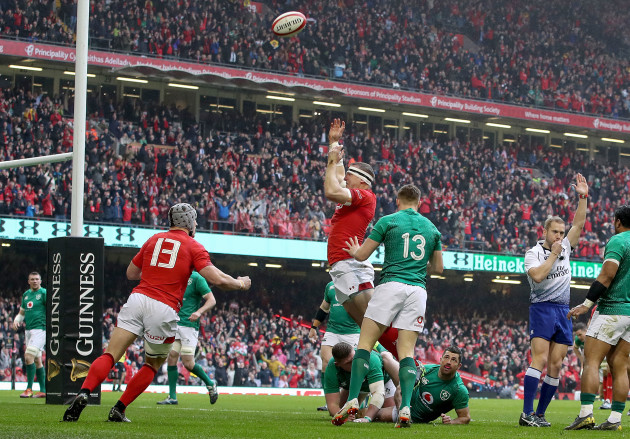 Hadleigh Parkes celebrates scoring their first try with Jonathan Davies