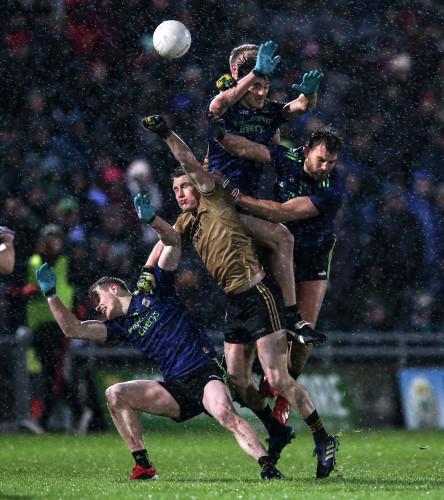 Mark Griffin and Gavin Crowley contest a high ball against Matthew Ruane, Diarmuid O'Connor and Aidan O'Shea