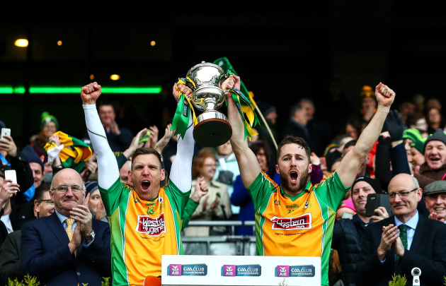 Ciaran McGrath and Michael Lundy lift The Andy Merrigan Cup