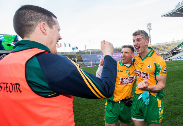 Kieran Fitzgerald celebrates after the game with manager Kevin O'Brien and Ciaran McGrath