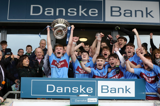 Brandon Horan lifts the MacRory Cup