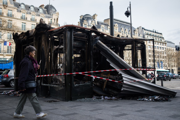 Damages on The Champs Elysees After Yellow Vests Protests - Paris