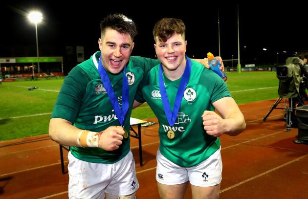 John Hodnett and Josh Wycherley celebrate