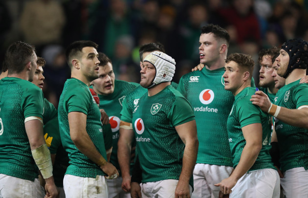 Ireland's Conor Murray Rory Best James Ryan Jordan Larmour and Sean O'Brien