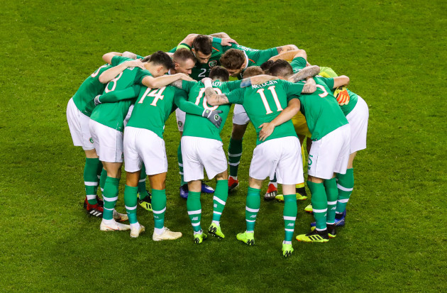 The Republic of Ireland team huddle