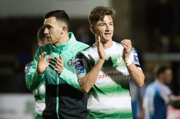 Aaron Greene and Ronan Finn celebrate after the game