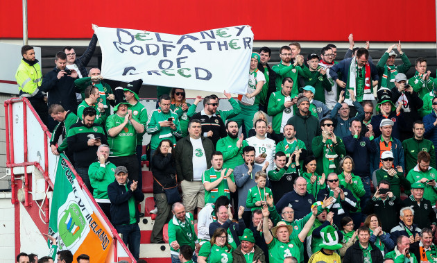 Ireland fans hold a banner in protest of FAI Chief Executive John Delaney