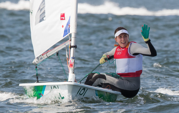 Annalise Murphy crosses the finishing line to claim a silver medal