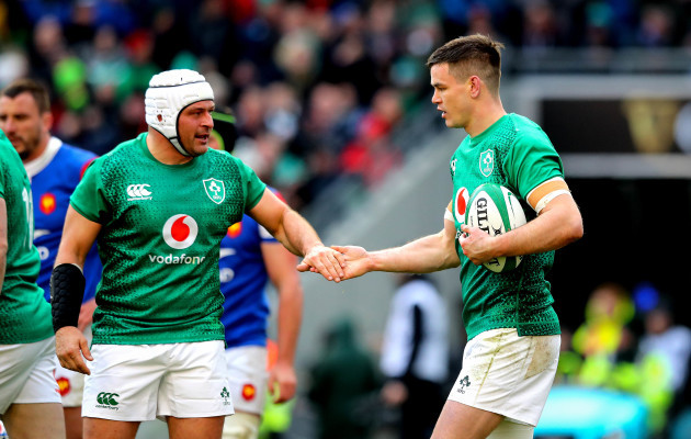 Jonathan Sexton celebrates scoring their second try with Rory Best