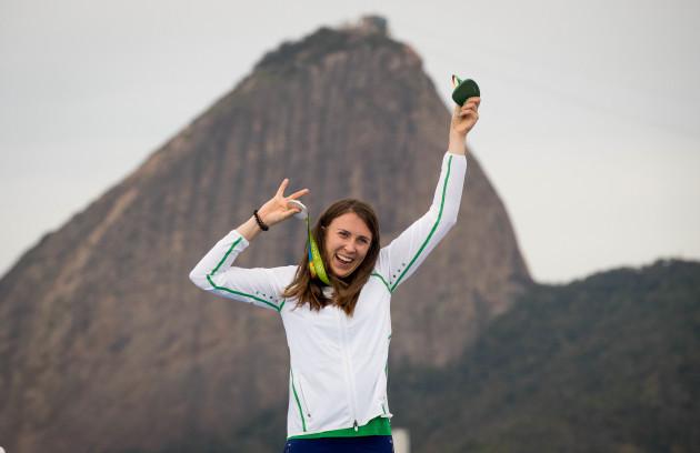Annalise Murphy celebrates winning her silver medal