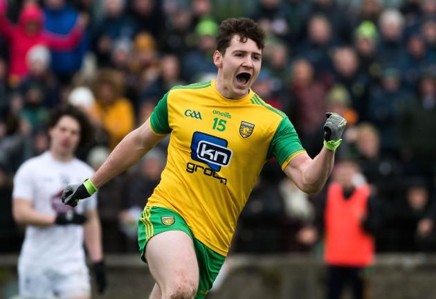 Jamie Brennan celebrates scoring a goal