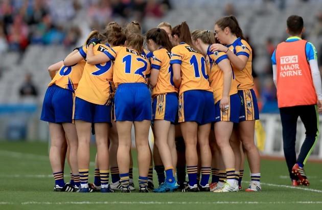 The Clare team huddle