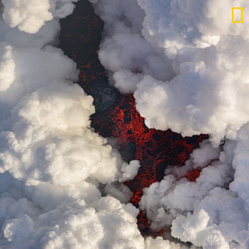 Lava under Plumes of Smoke